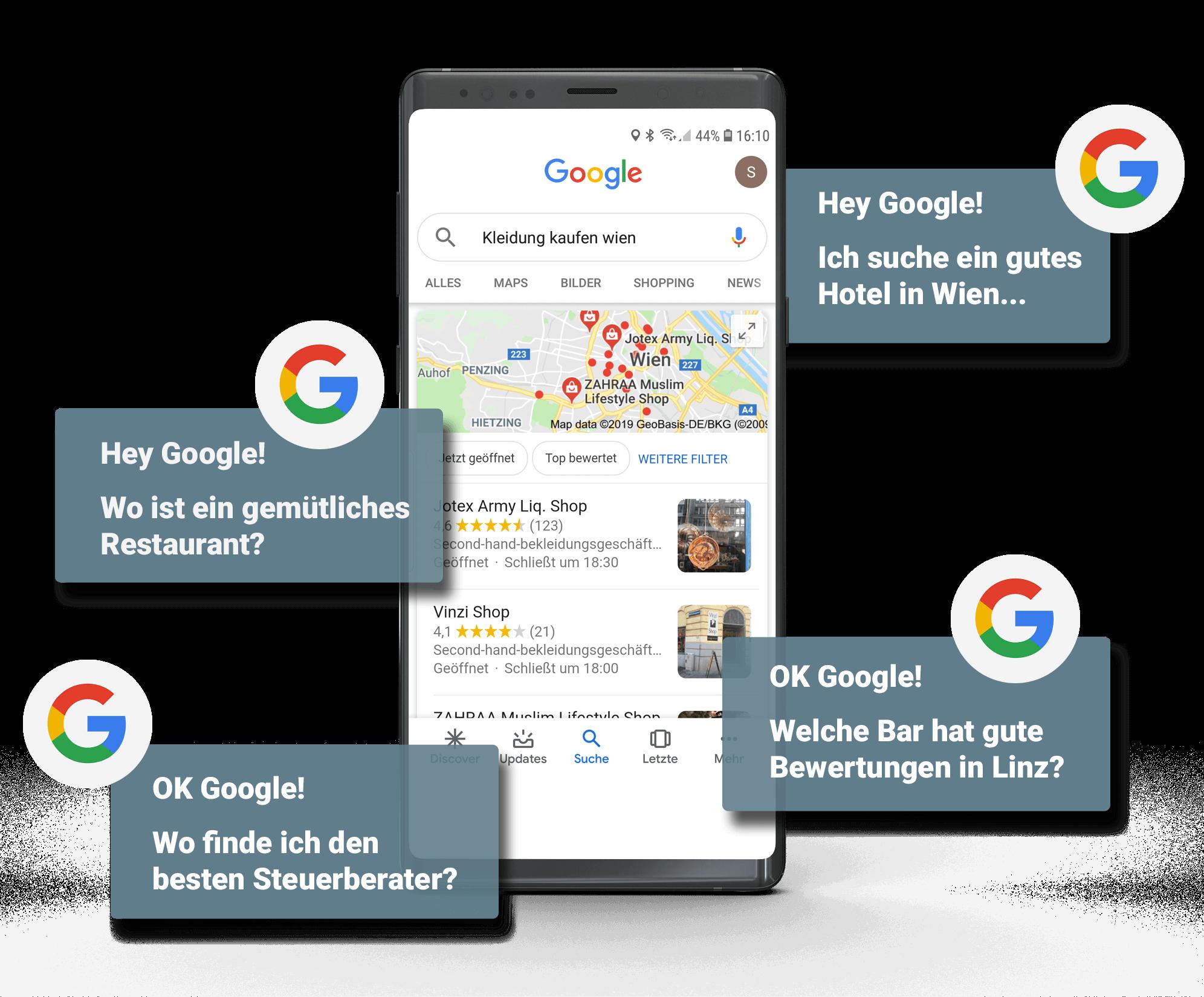 Google Suche am Handy, Darstellung mit Userfragen